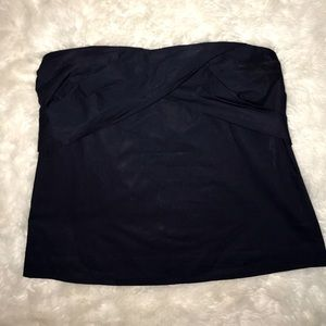 Jcrew navy blue tube top bow blouse